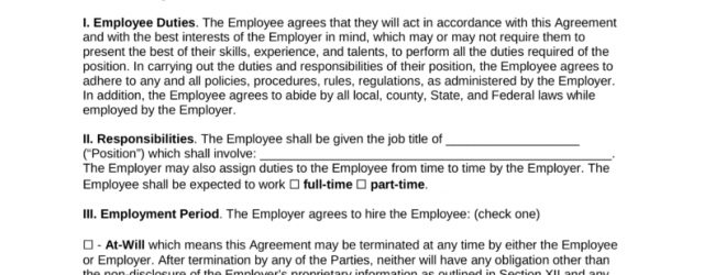 Agreement With Employee Free Employment Contract Agreement Pdf Word Eforms Free