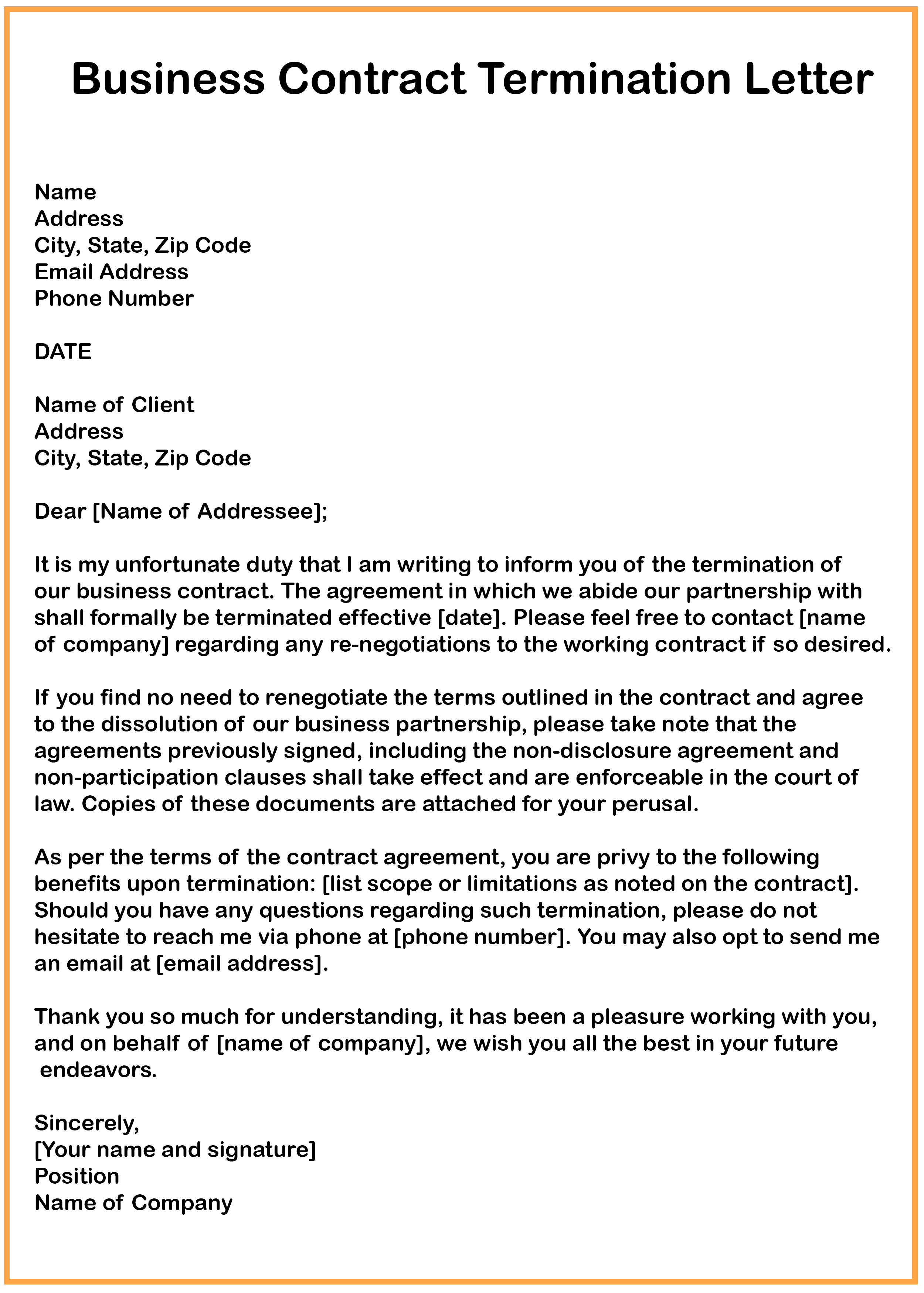 Business Contract Agreement 7 Business Contract Termination Letter Samples How To Wiki