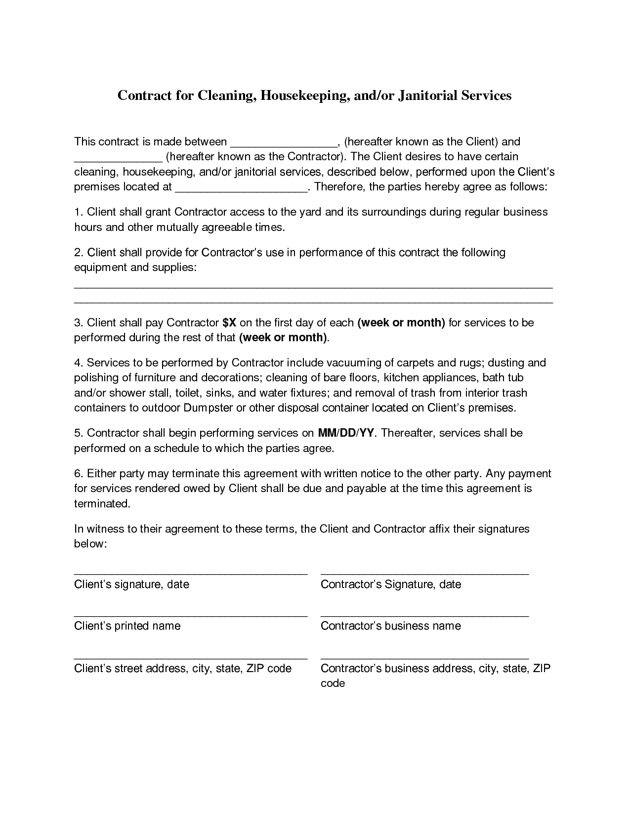 Business Contract Agreement Business Contract Checklist Sale Of Review Cleaning Agreement