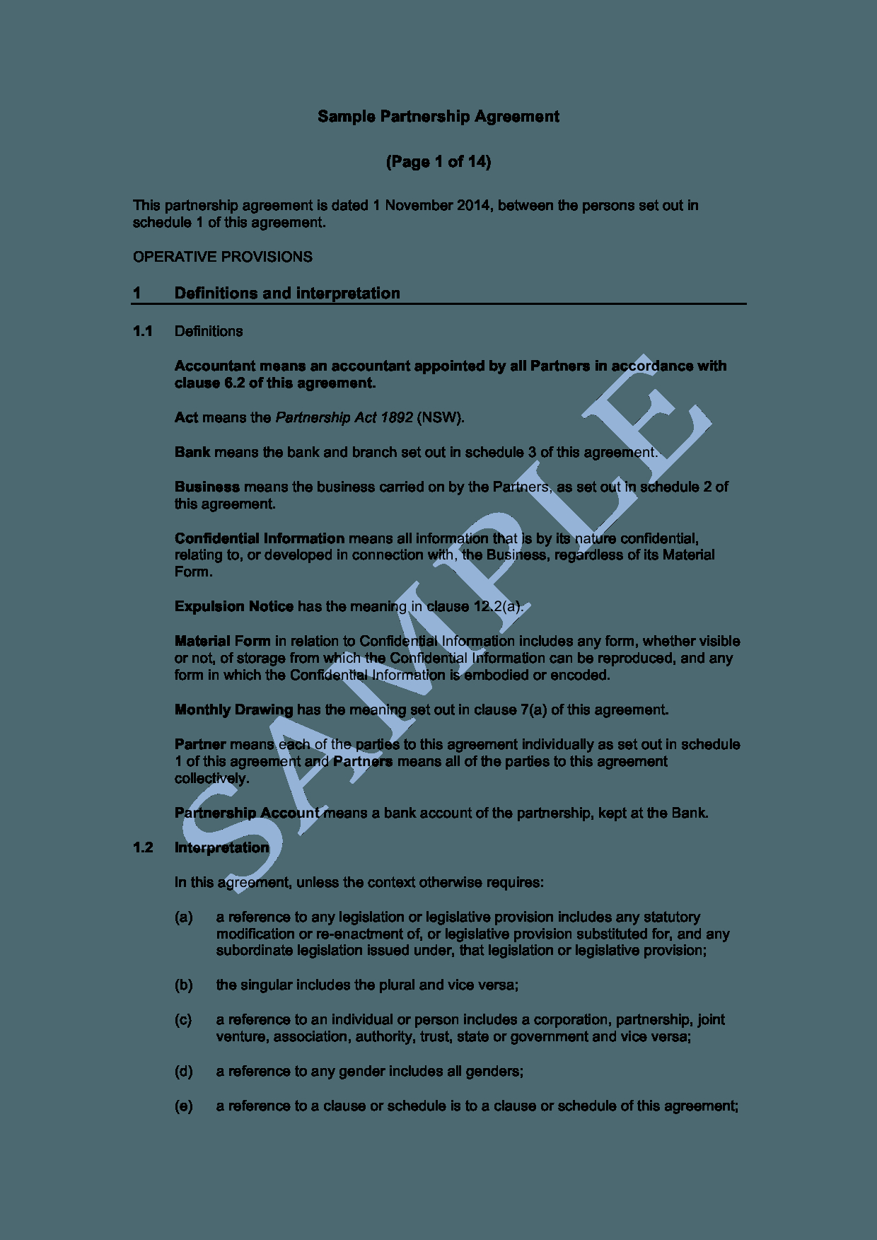 Business Contract Agreement Partnership Agreement Free Template Sample Lawpath