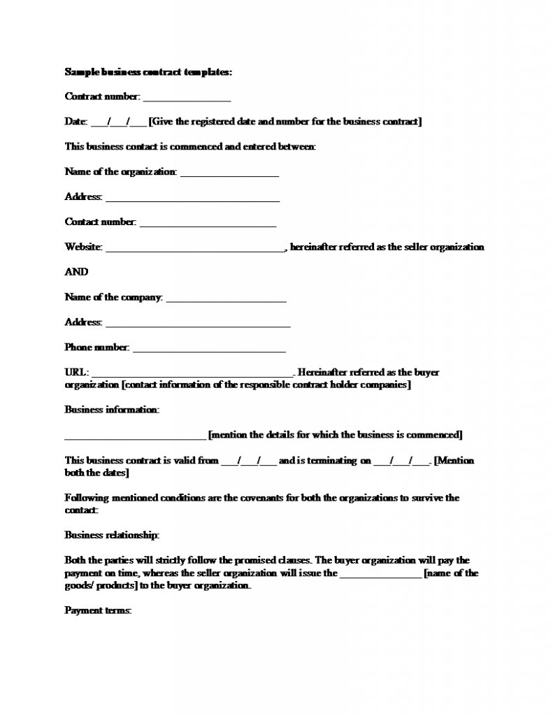 Business Contract Agreement Sample Business Contract Template