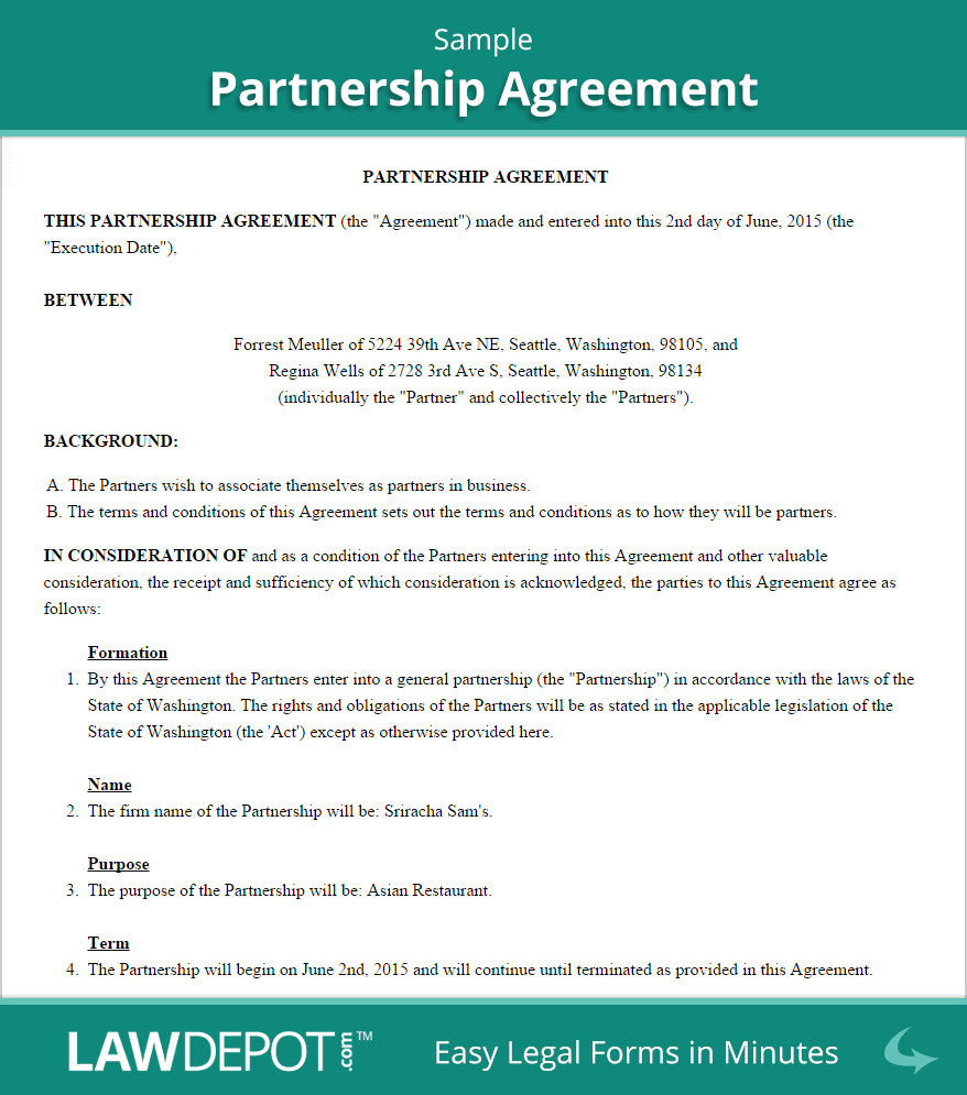 Business Contract Agreement Sample Business Partnership Agreements Ataumberglauf Verband