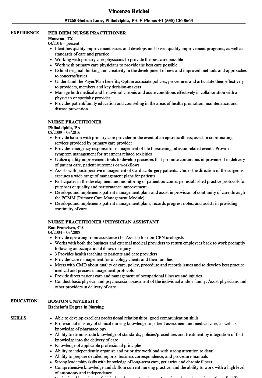 Collaborative Practice Agreement Nurse Practitioner Nurse Practitioner Resume Samples Velvet Jobs