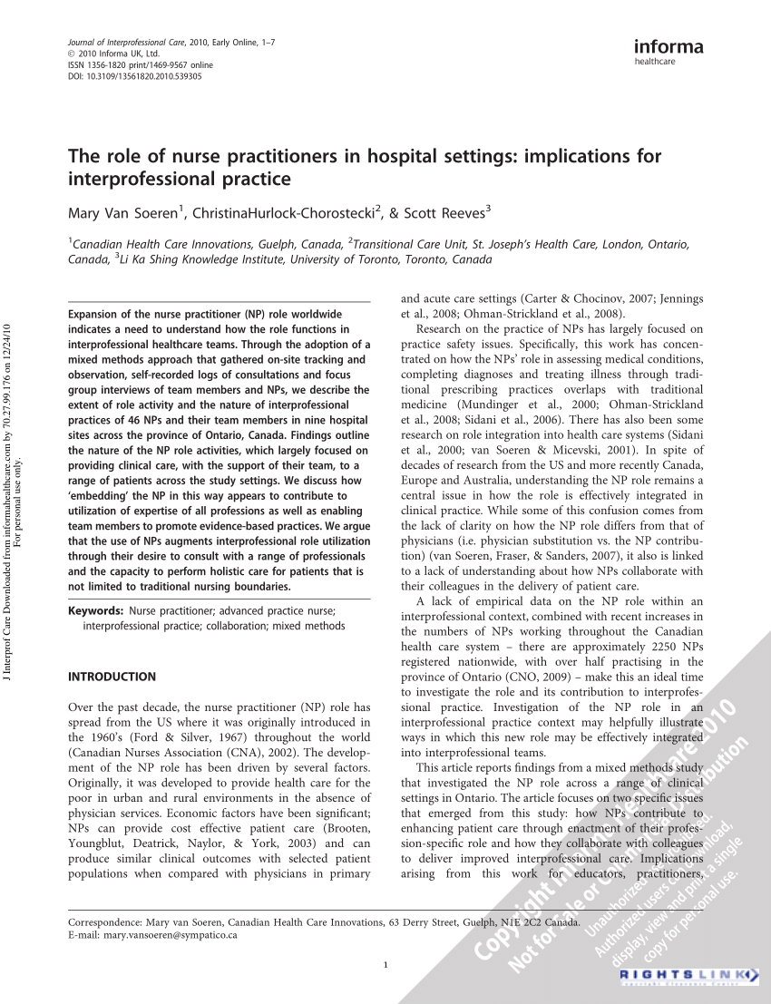 Collaborative Practice Agreement Nurse Practitioner Pdf The Role Of Nurse Practitioners In Hospital Settings
