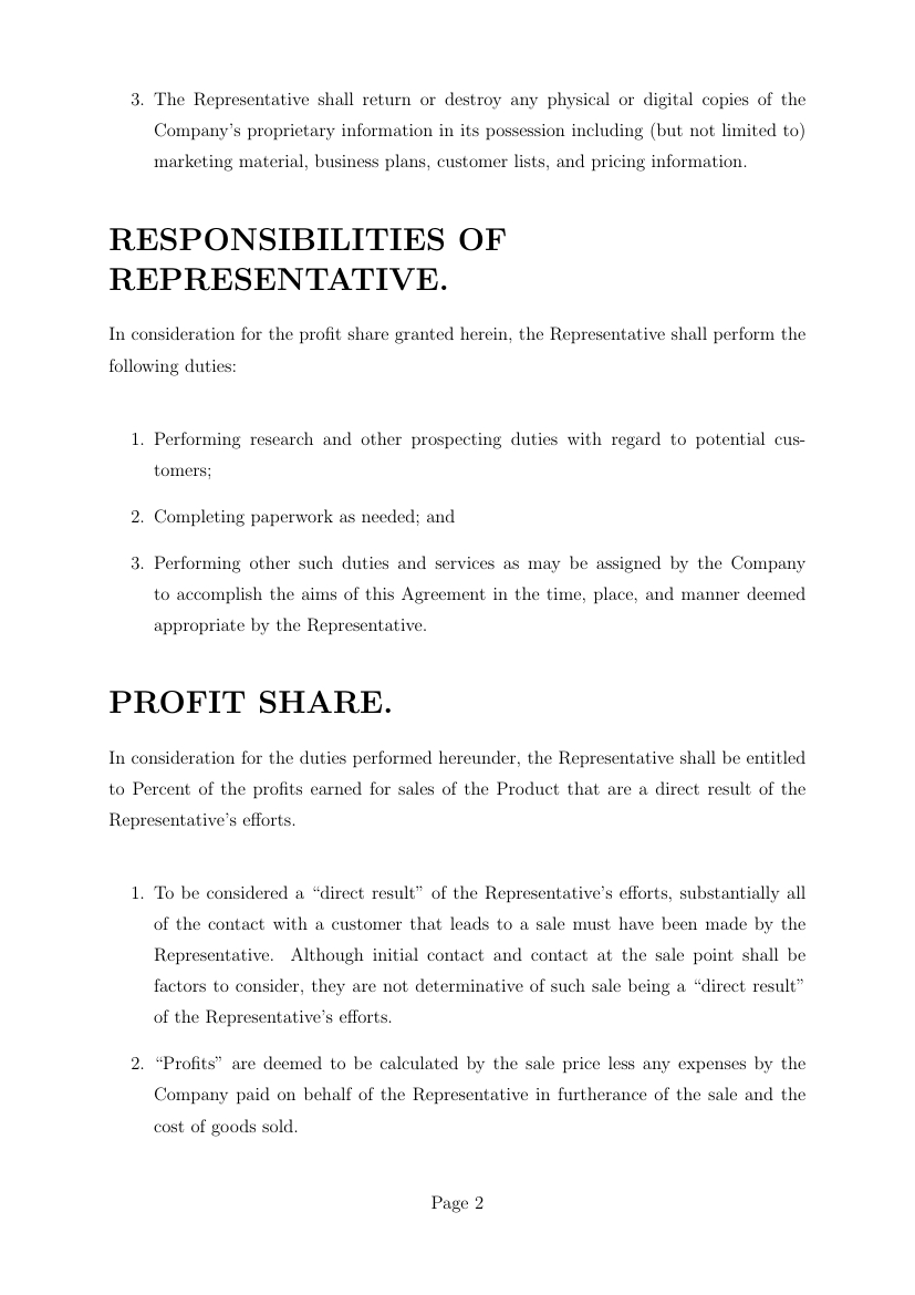 Company Representative Agreement Agreements Profit Sharing Agreement Template Template