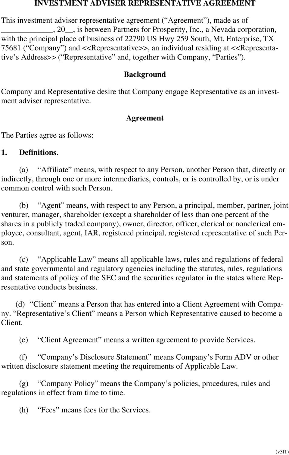 Company Representative Agreement Investment Adviser Representative Agreement Pdf