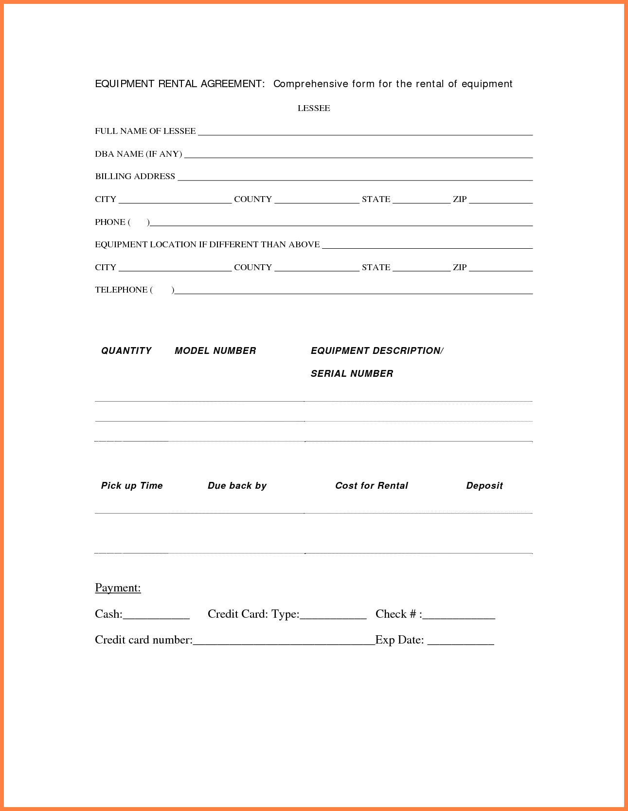 Contract Rental Agreement Template 003 Equipment Rental Agreement Template Contract Lease Form