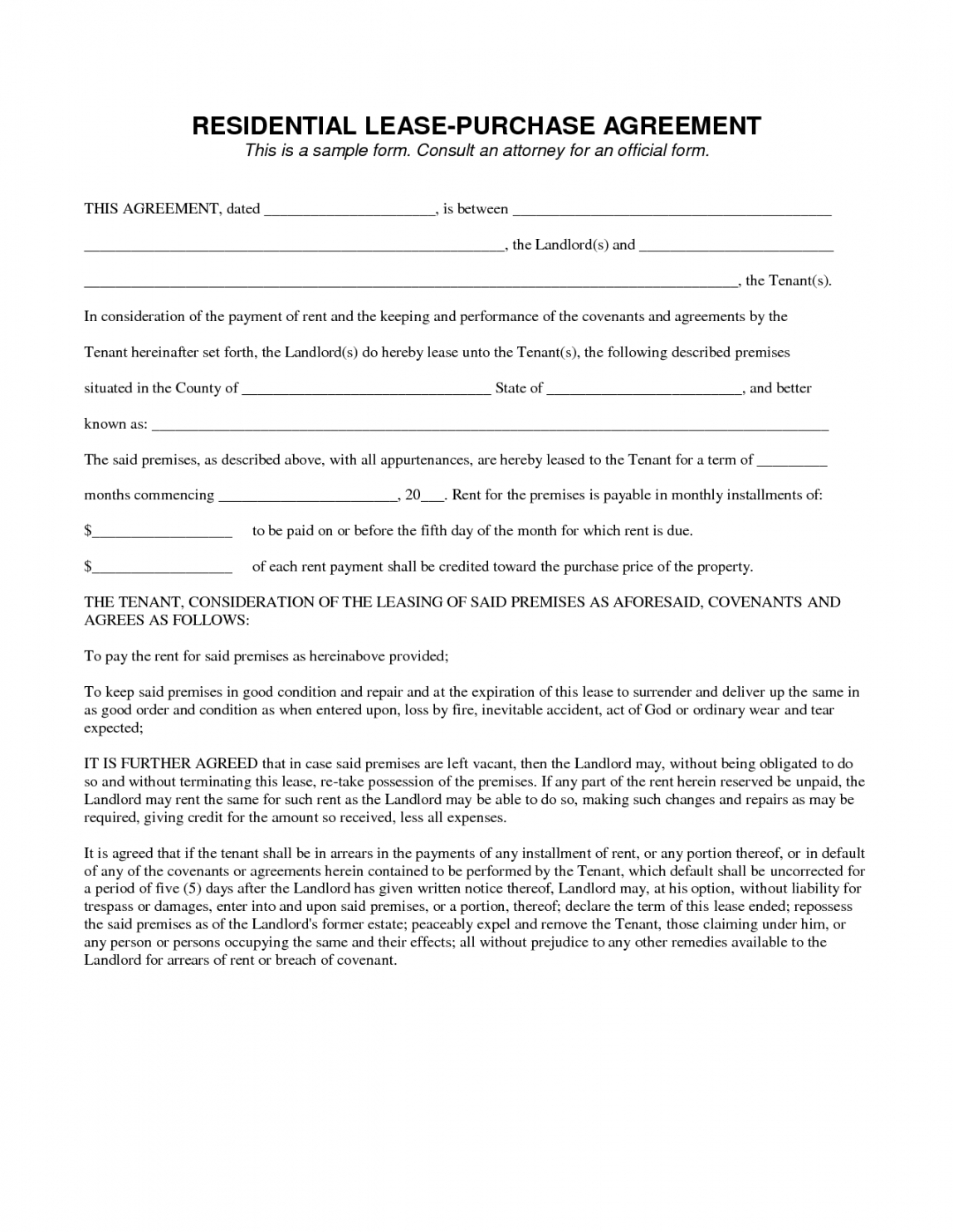 Contract Rental Agreement Template Editable Lease To Own Contract Template Legal Agreement Contract