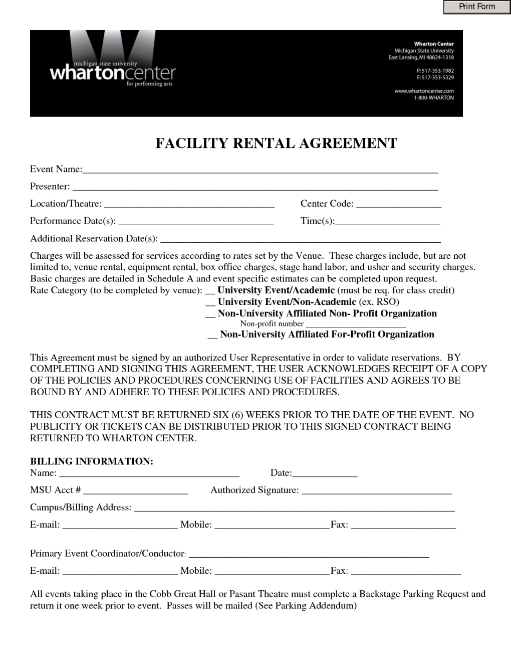 Contract Rental Agreement Template Facility Hire Agreement Template Lobo Black