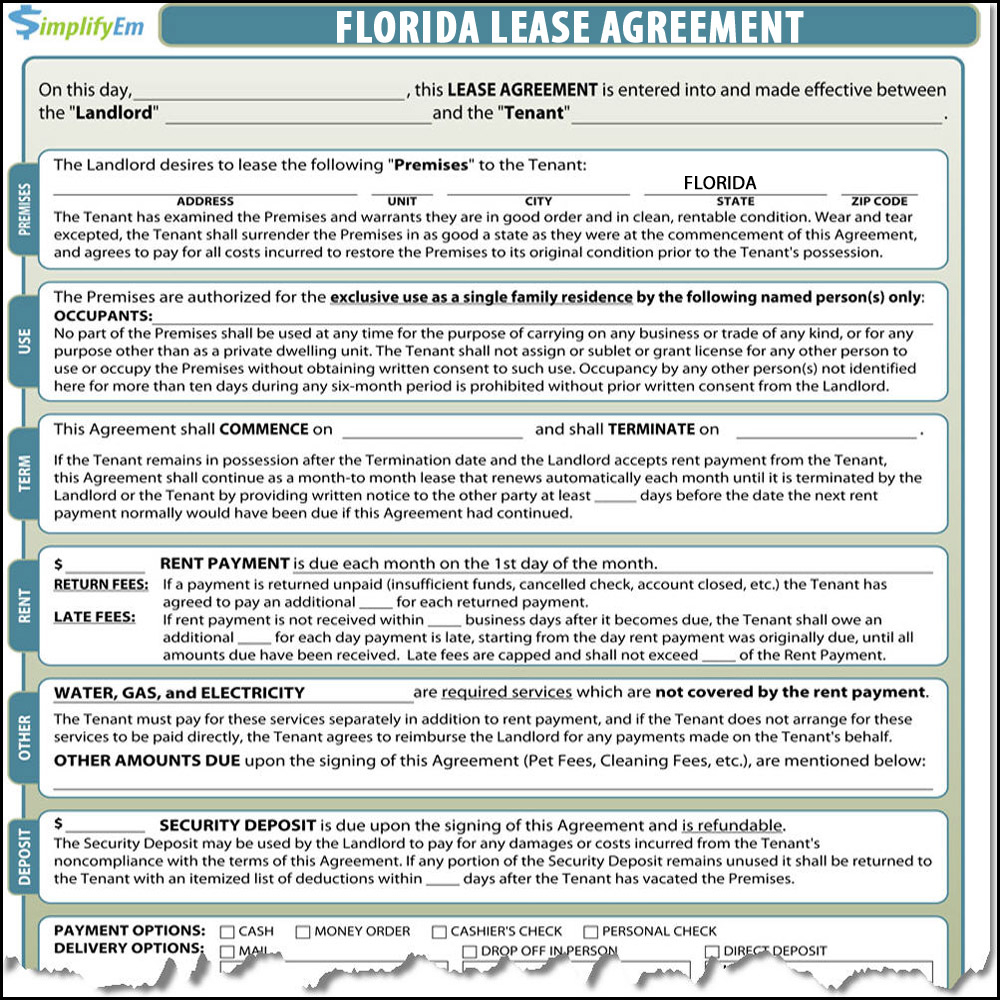 Contract Rental Agreement Template Florida Lease Agreement