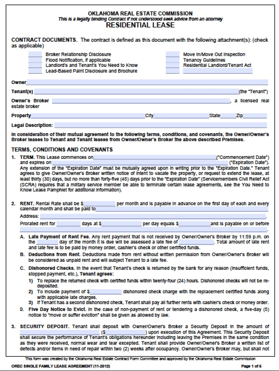 Contract Rental Agreement Template Free Oklahoma Standard One 1 Year Residential Lease Agreement