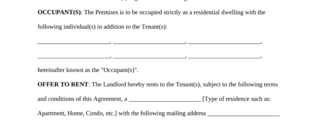 Contract Rental Agreement Template Free Standard Residential Lease Agreement Template Pdf Word