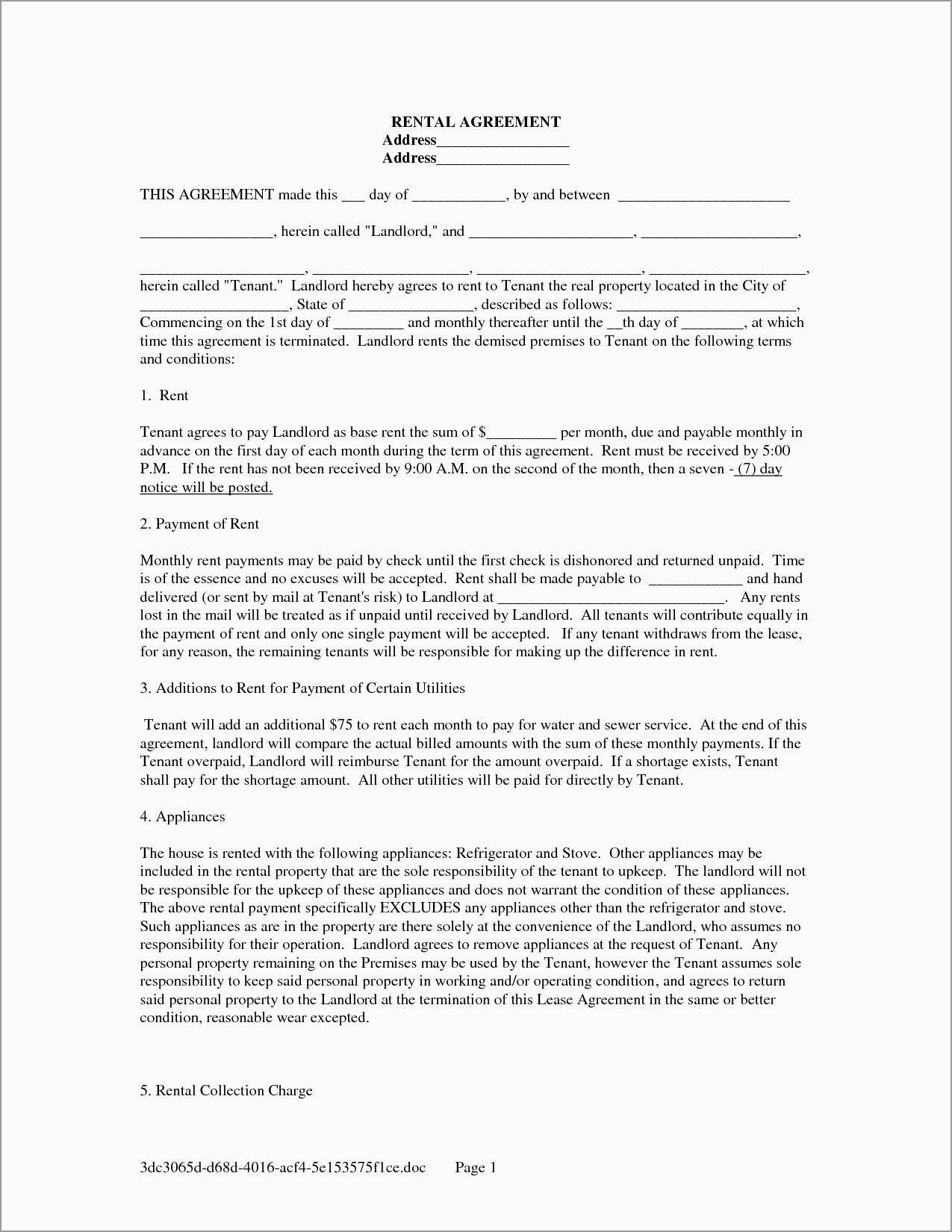 Contract Rental Agreement Template New Rental House Contract Template Free Best Of Template