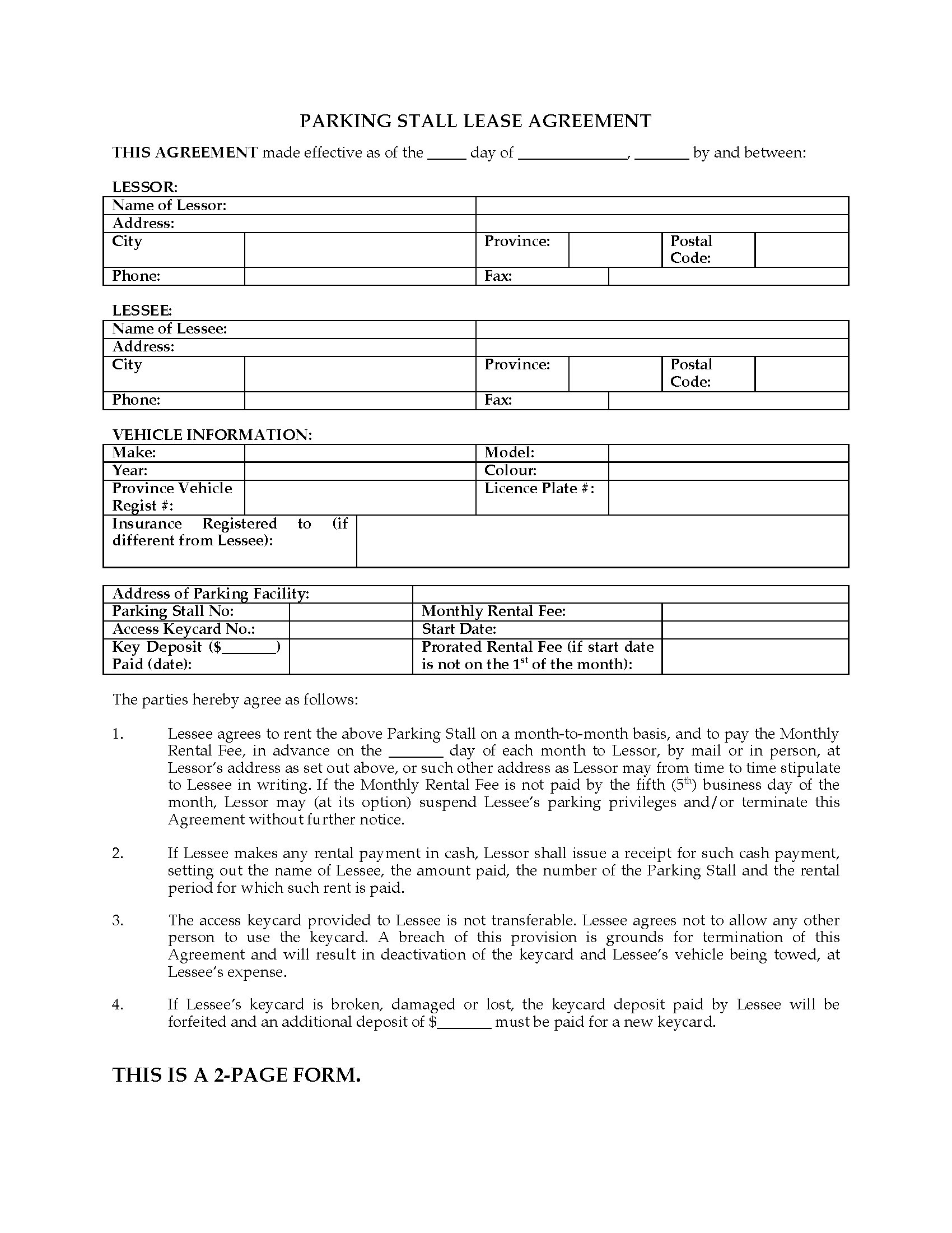 Contract Rental Agreement Template Quebec Parking Stall Lease Agreement