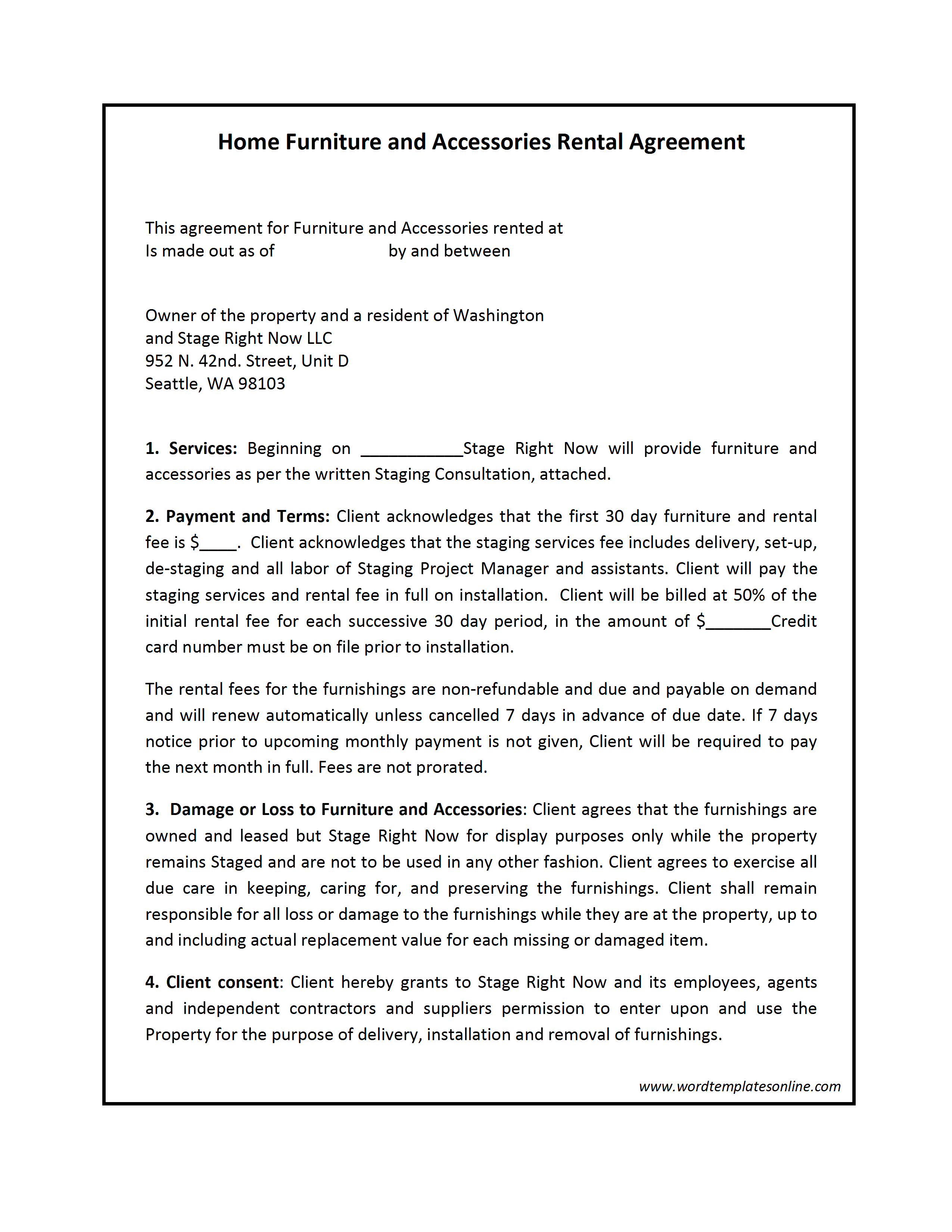 Contract Rental Agreement Template Rental Contract Template
