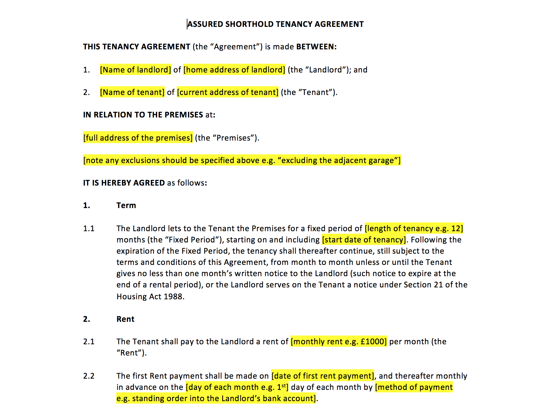 Contract Rental Agreement Template Tenancy Agreement Template