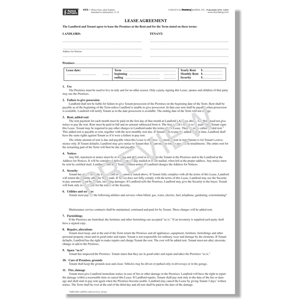 Copy Of A Lease Agreement For Residential Blumberg Lease New York Residential Lease Forms