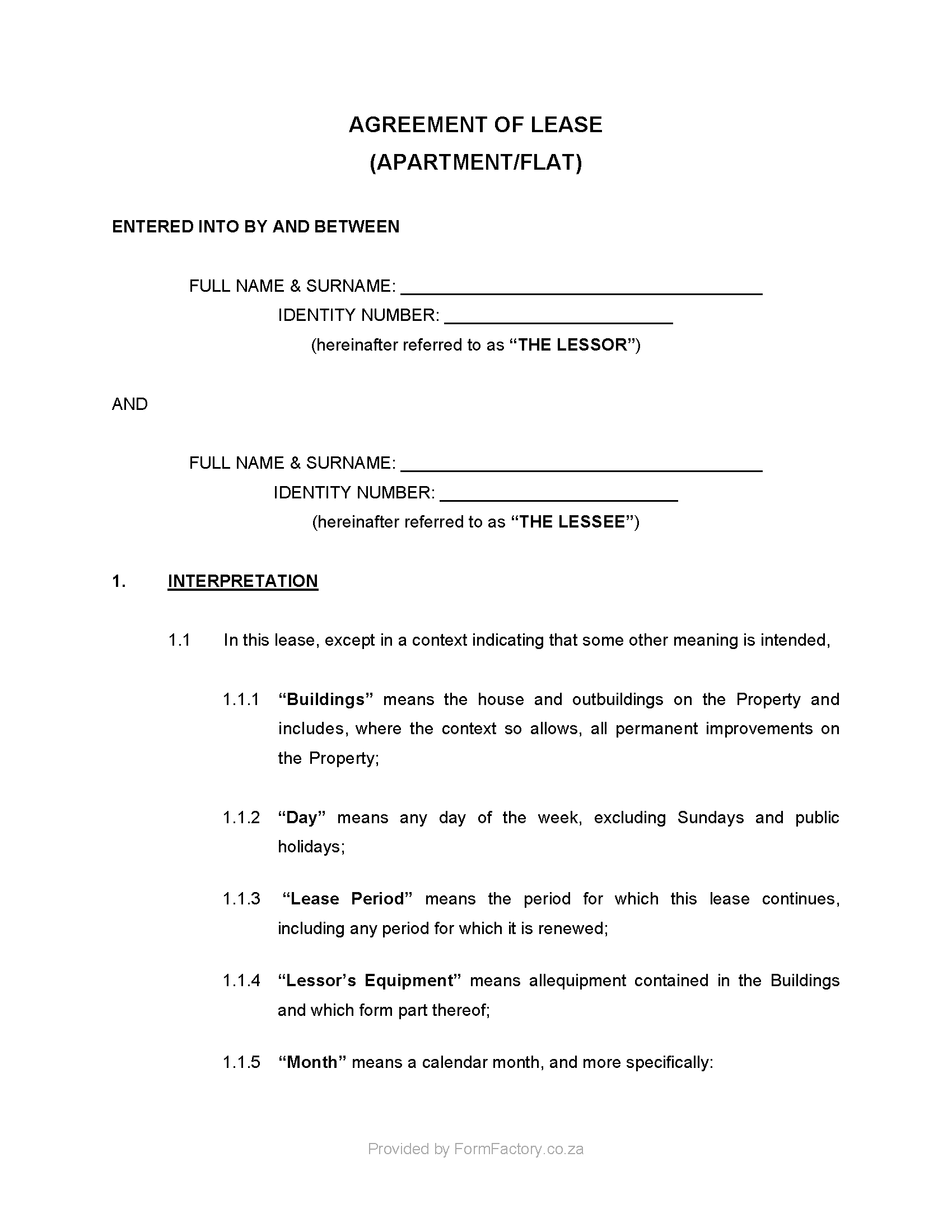 Copy Of A Lease Agreement For Residential Download Residential Lease Agreement Template Formfactory