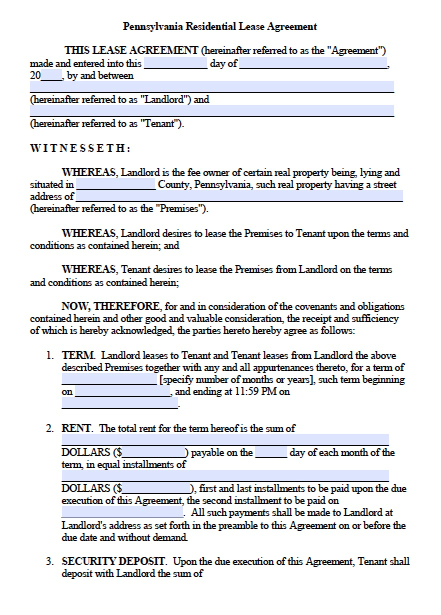 Copy Of A Lease Agreement For Residential Free Pennsylvania Standard Residential Lease Agreement Template