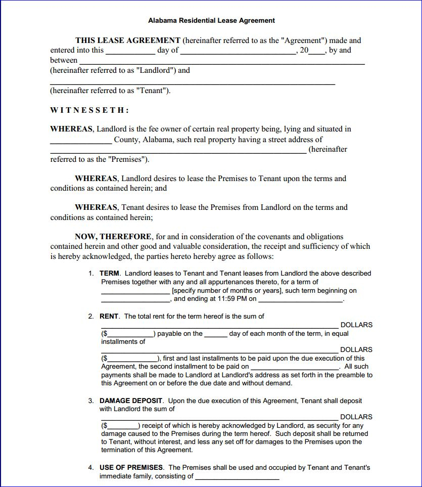 Copy Of A Lease Agreement For Residential Free Printable Alabama Residential Lease Agreement Printable