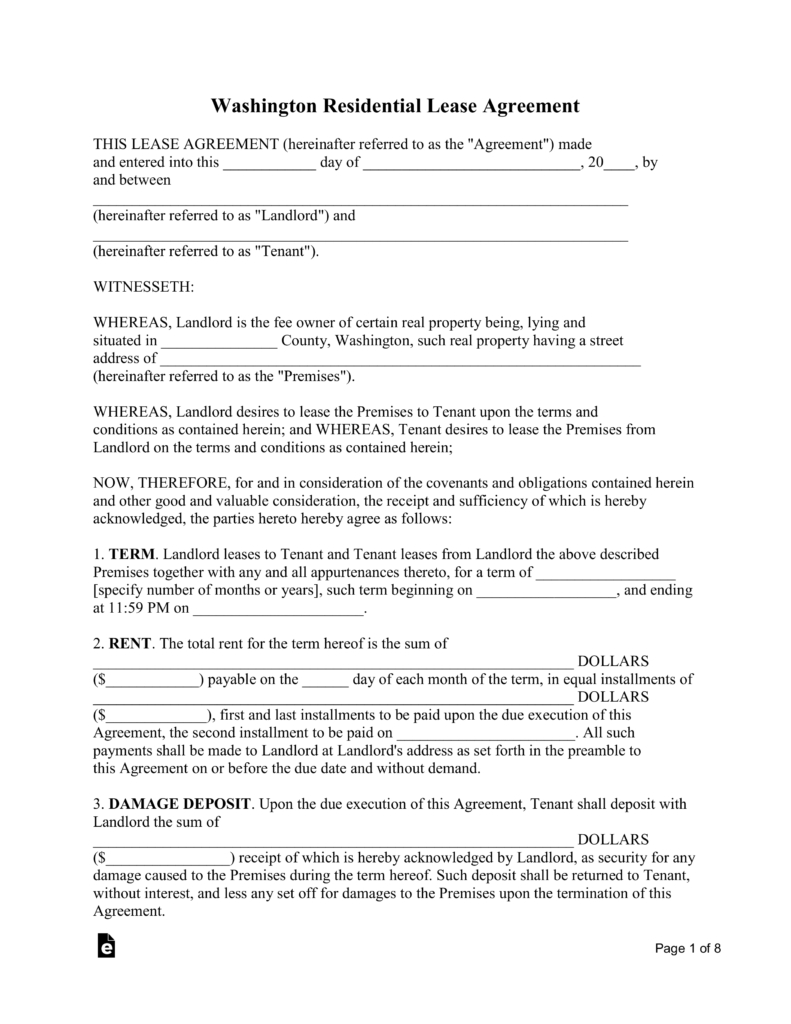 Copy Of A Lease Agreement For Residential Free Washington Standard Residential Lease Agreement Template Pdf