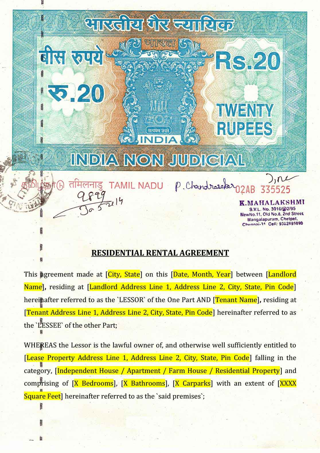 Copy Of A Lease Agreement For Residential Rental Agreement Format Indiafilings Document Center