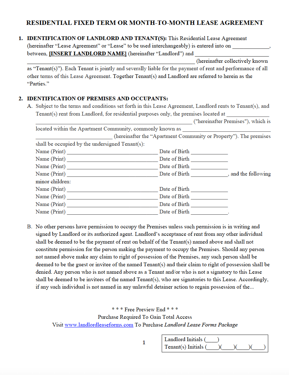 Copy Of A Lease Agreement For Residential Residential Fixed Term Or Month To Month Lease Agreement Landlord
