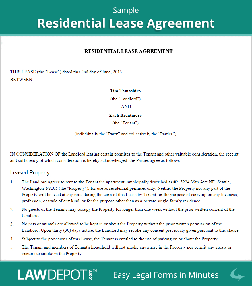 Copy Of A Lease Agreement For Residential Residential Lease Agreement Free Rental Lease Form Us Lawdepot