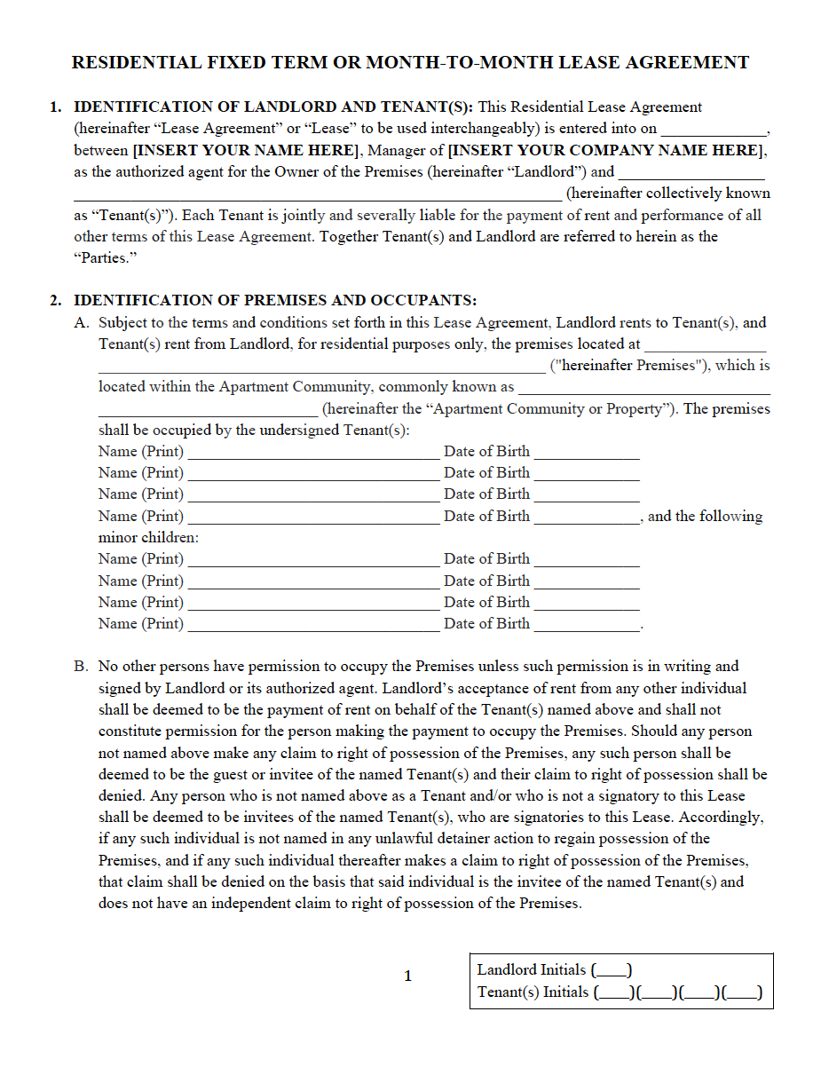 Copy Of A Lease Agreement For Residential Residential Lease And Rental Agreement Property Management Forms