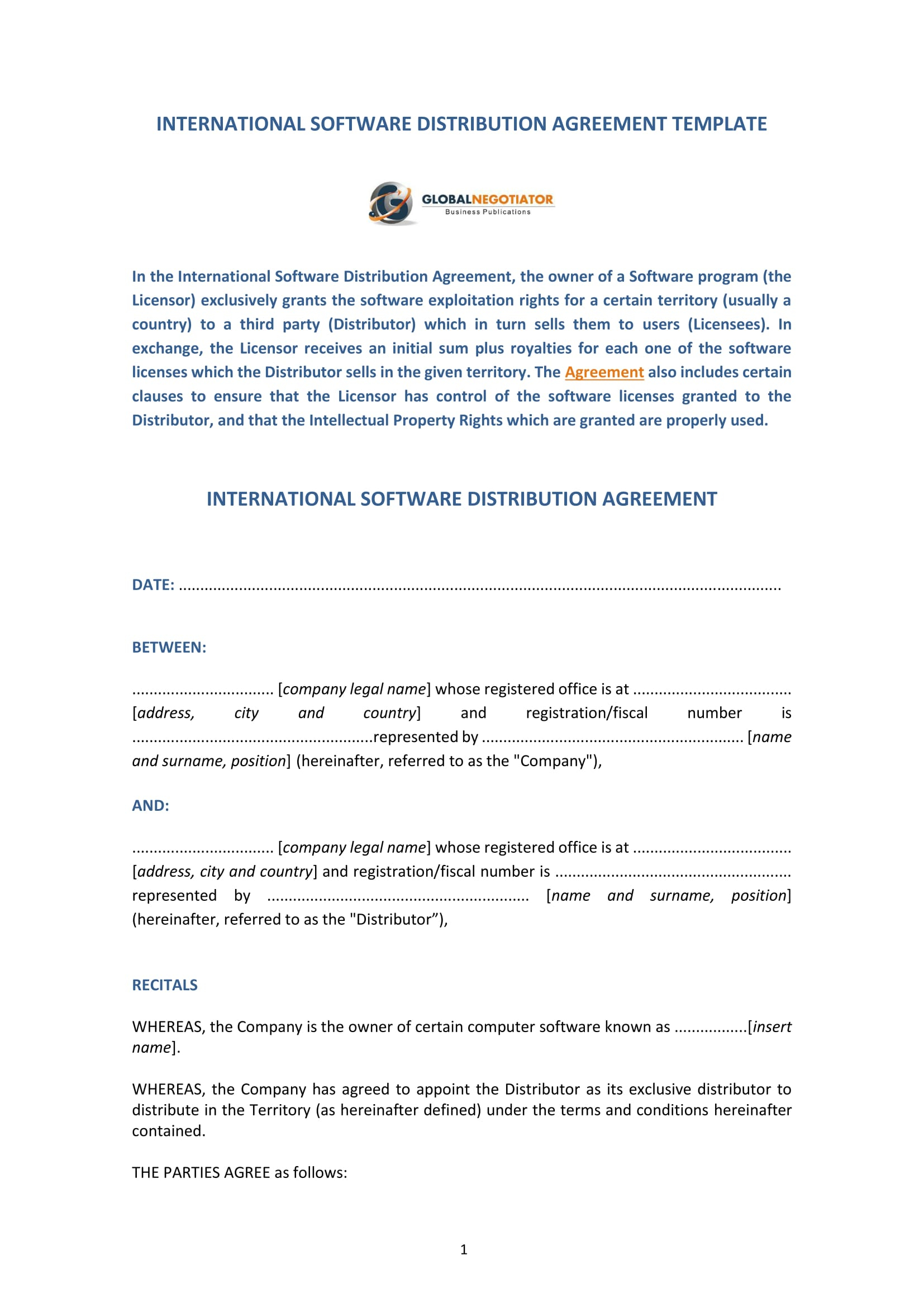 Distributor Agreement Sample Contract 4 Software Distribution Agreement Forms Pdf Word
