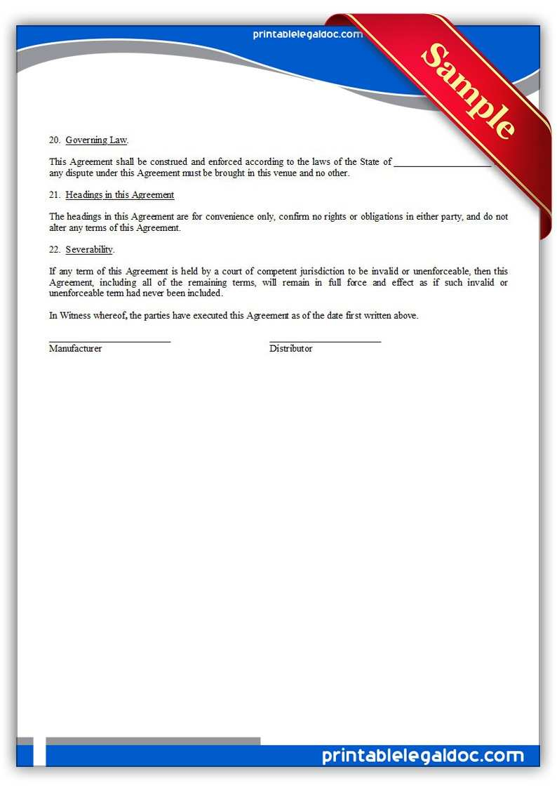 Distributor Agreement Sample Contract Distribution Agreement Sample Free Fast Modal Title Je N20526
