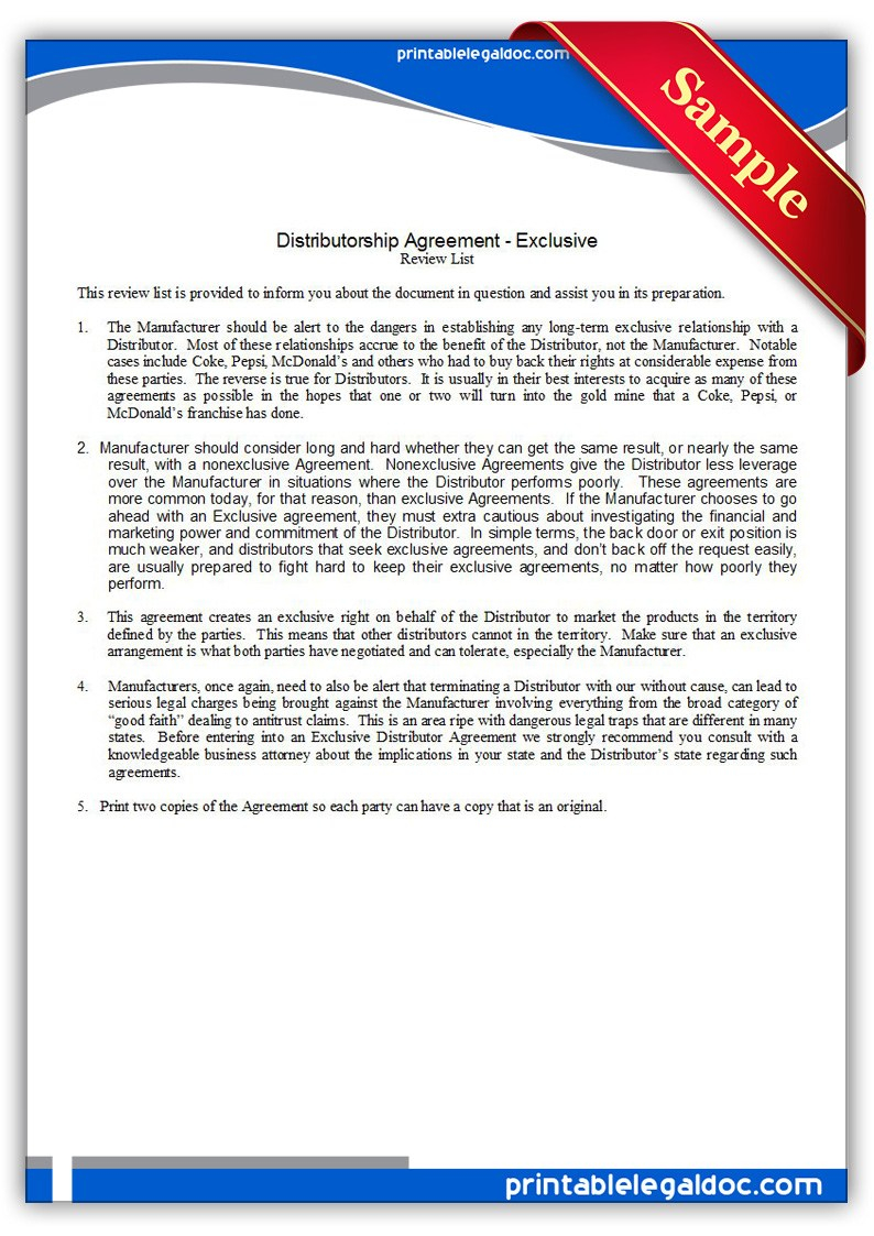 Distributor Agreement Sample Contract Distributor Contract Template Band 5 Free Word Pdf Documents