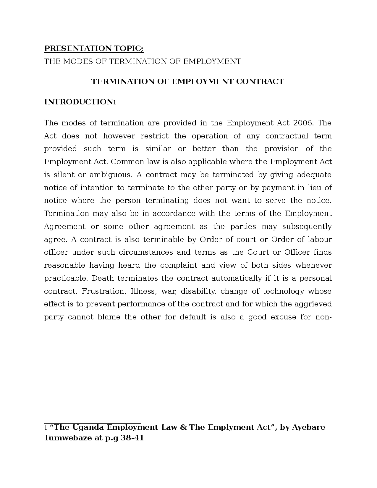 Employee Termination Agreement Sample Modes Of Termination Of Contract Of Employment Docsity