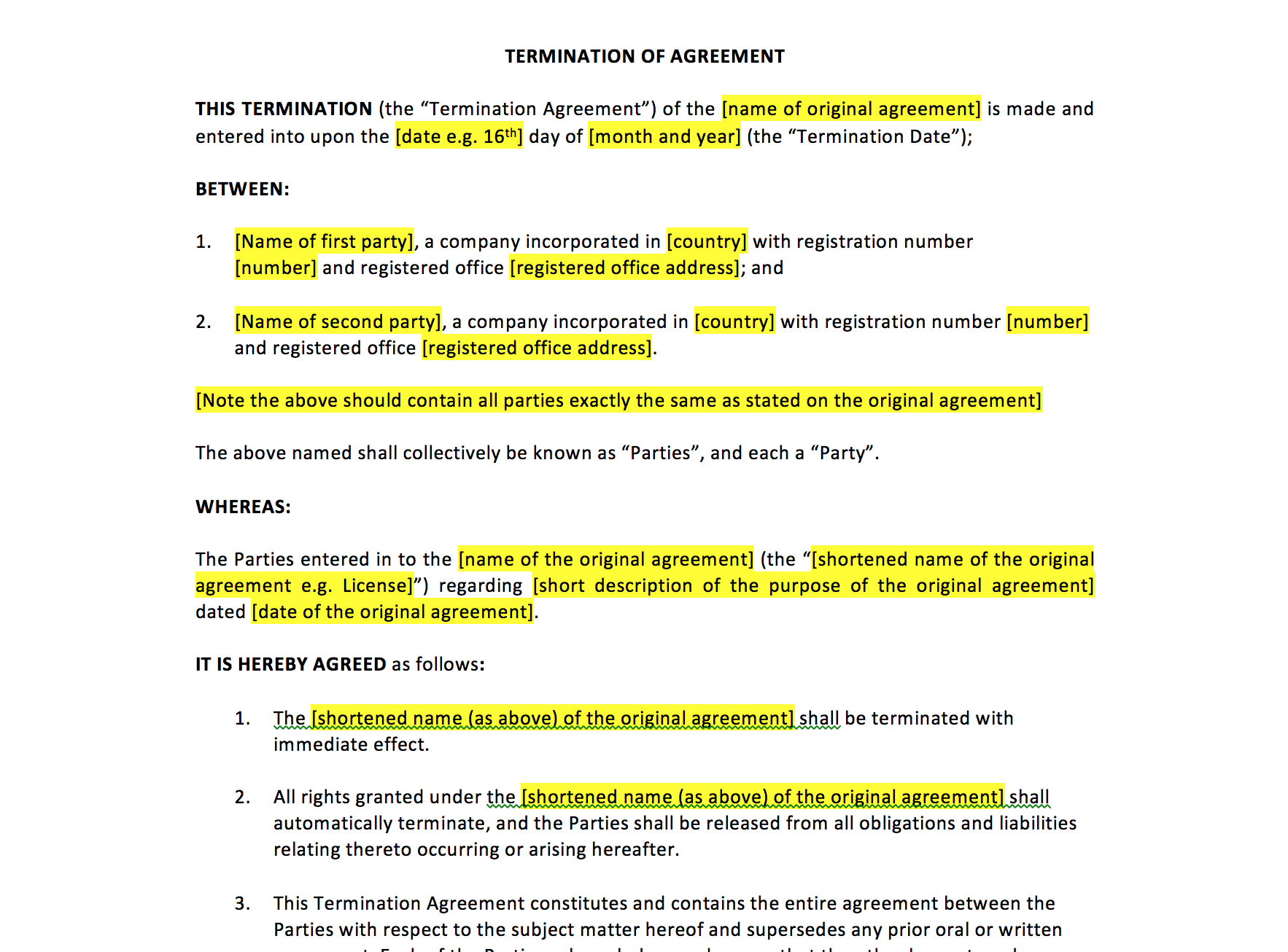 Employee Termination Agreement Sample Termination Of Agreement Template