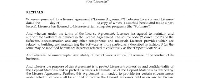 Escrow Agreement Uk Software Escrow Agreement Uk