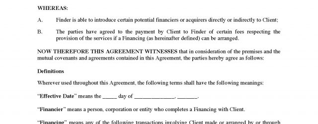 Finder Fee Agreement Canada Finders Fee Agreement For Identifying Potential Financings