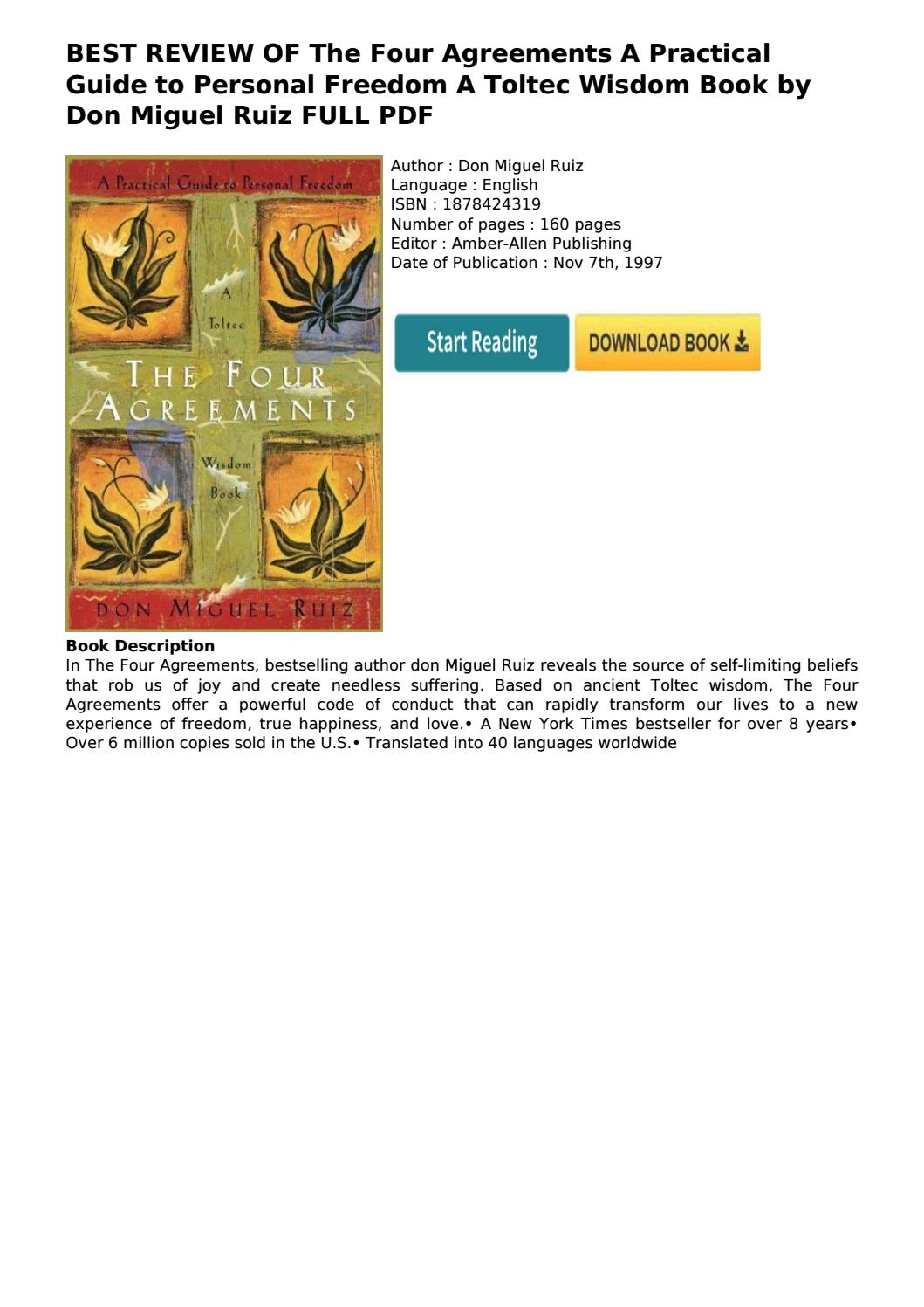 Four Agreements Book Free Download Best Review Of The Four Agreements A Practical Guide To Personal