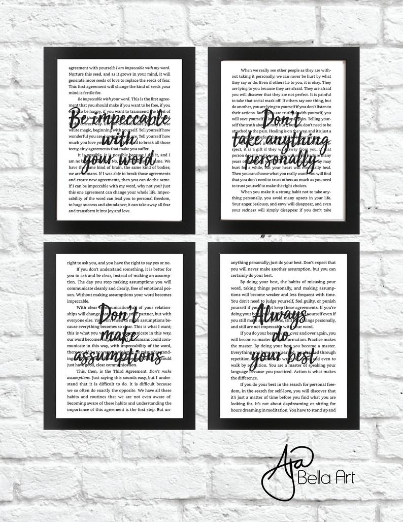 Four Agreements Book Free Download Four Agreements Black White Art Digital Download