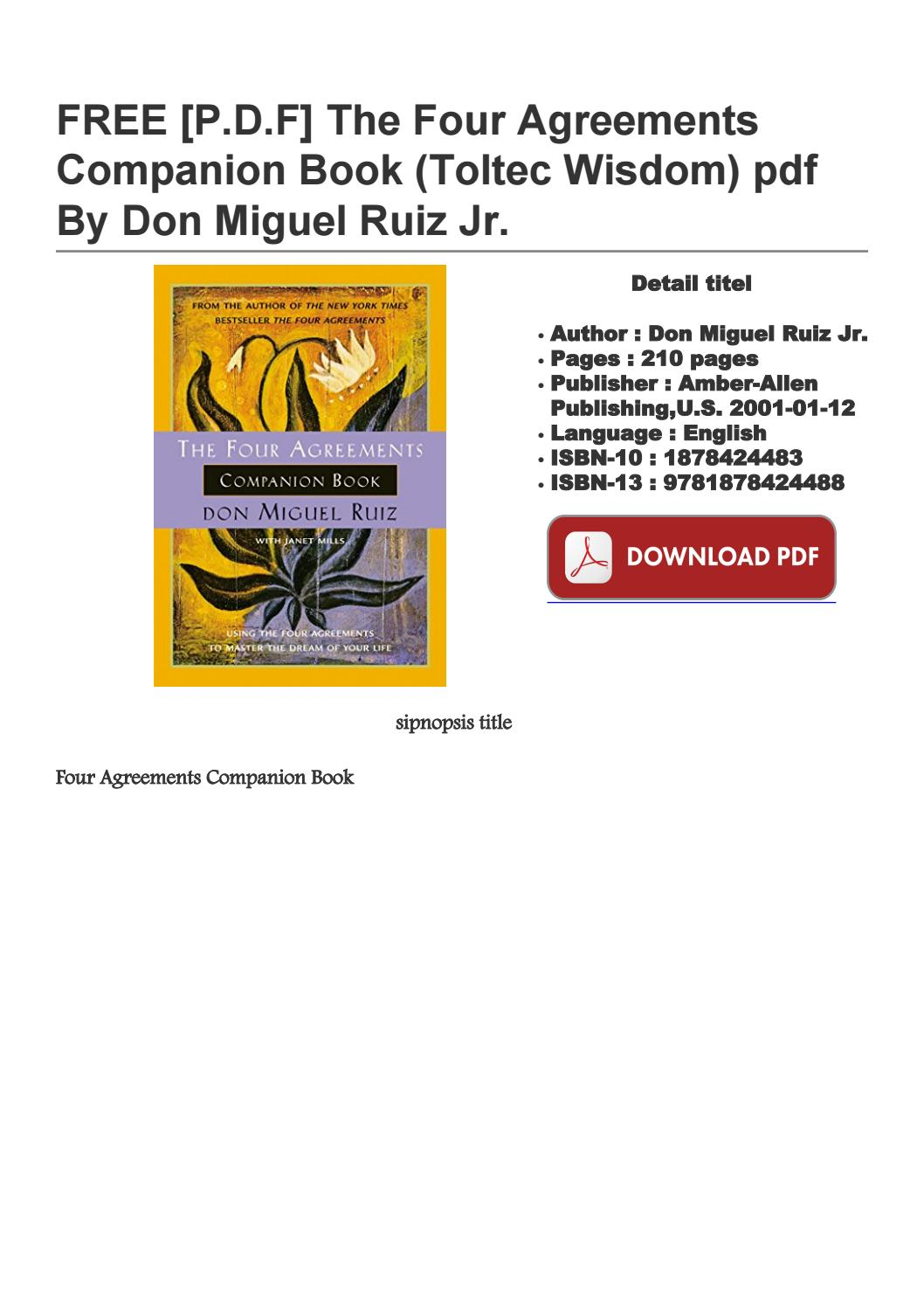 Four Agreements Book Free Download Free Pdf The Four Agreements Companion Book Toltec Wisdom Pdf