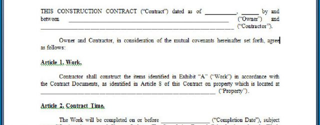 Free Construction Contract Agreement Template 019 Free Construction Contract Template Excellent Ideas Standard