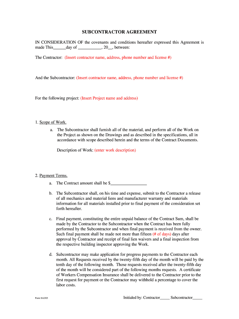Free Construction Contract Agreement Template Commercial Construction Subcontractor Contracts Free Download Fill
