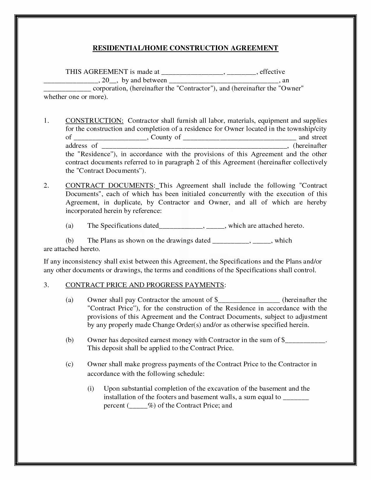 Free Construction Contract Agreement Template Construction Contract Template Doc New Sample Construction Agreement