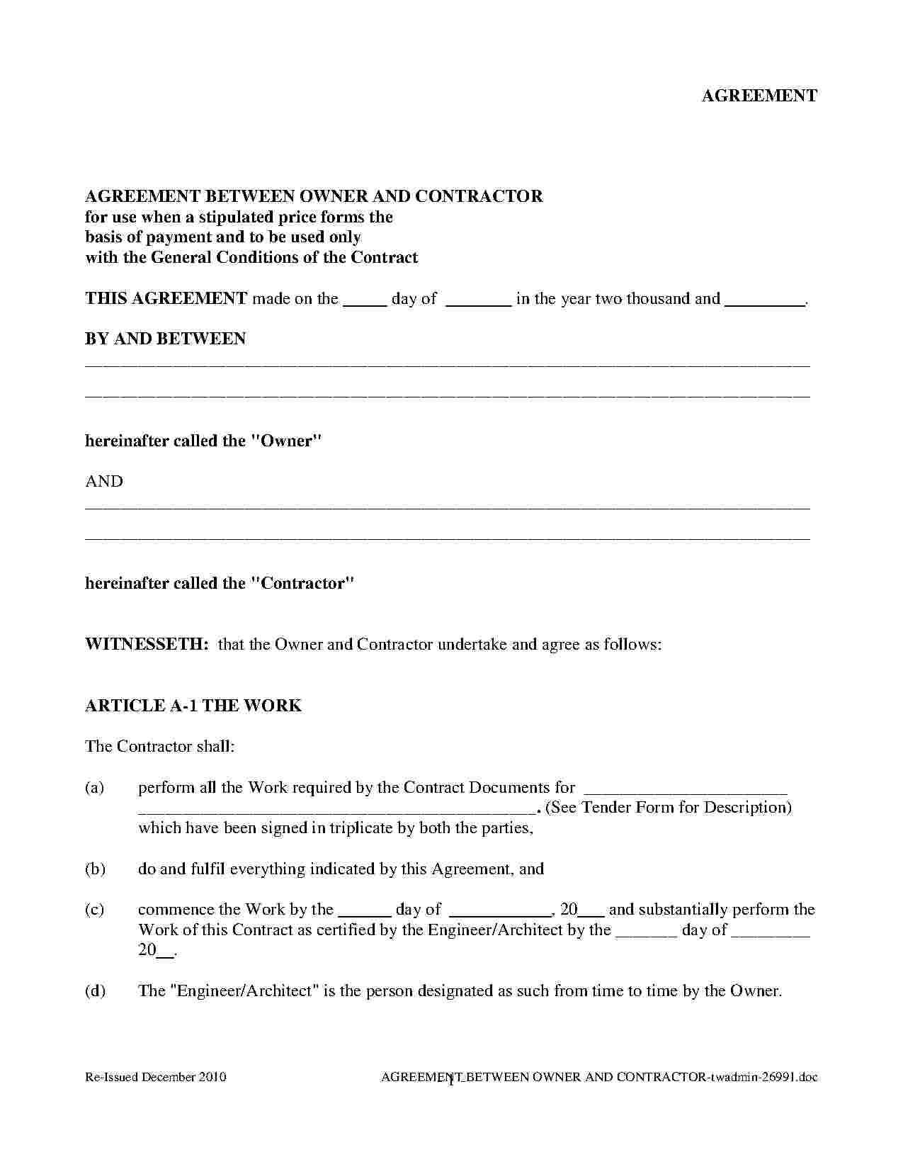 Free Construction Contract Agreement Template Download Construction Contract Agreement Style 18 Template For Free