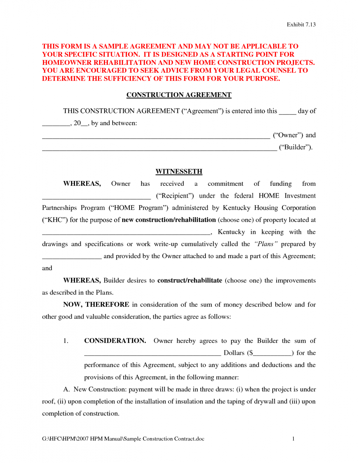 Free Construction Contract Agreement Template Free Contract Agreement Form Sample 6 Elsik Blue Cetane Drywall