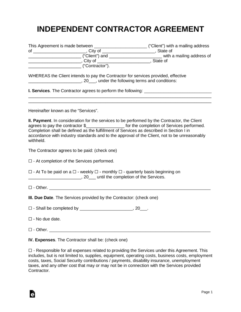 Free Construction Contract Agreement Template Free Independent Contractor Agreement Template Pdf Word Eforms