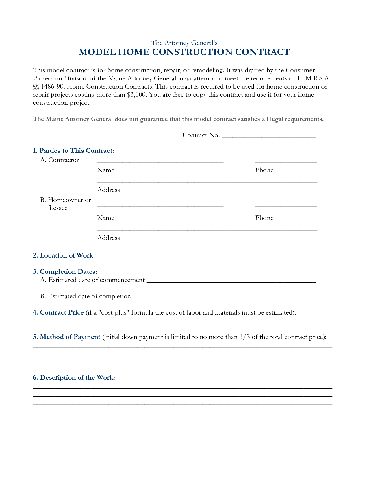 Free Construction Contract Agreement Template Free Printable Construction Contracts Business Form Letter Template