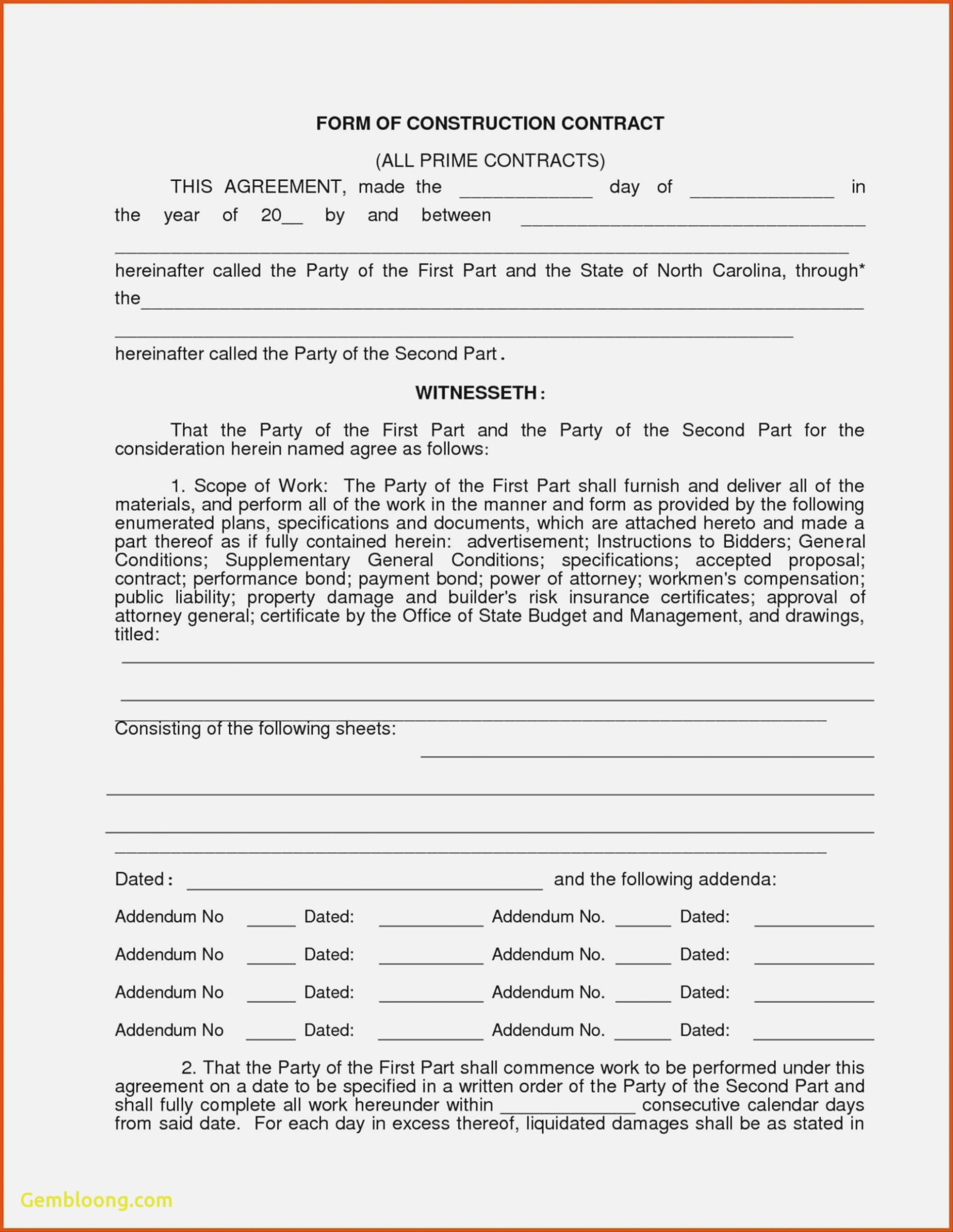 Free Construction Contract Agreement Template Free Roofing Contract Agreement