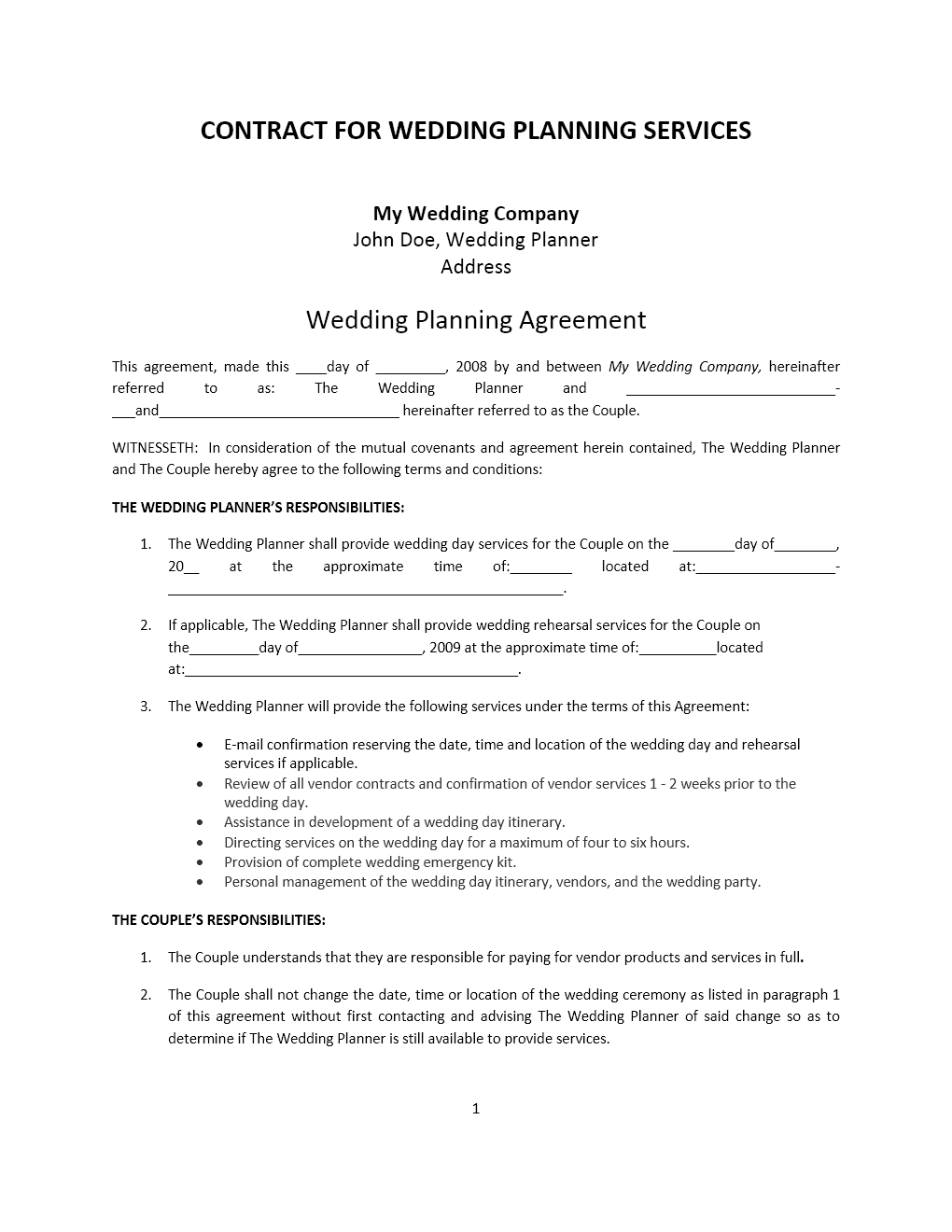 Free Construction Contract Agreement Template Wedding Planner Contract Template