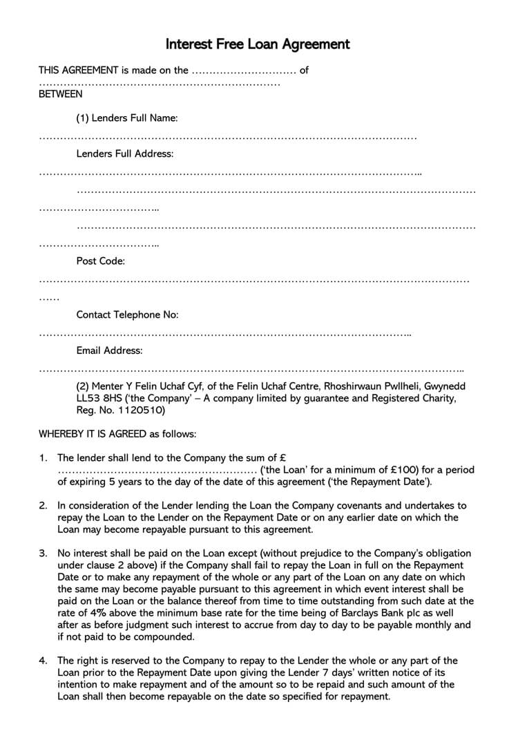 Free Loan Agreement 38 Free Loan Agreement Templates Forms Word Pdf