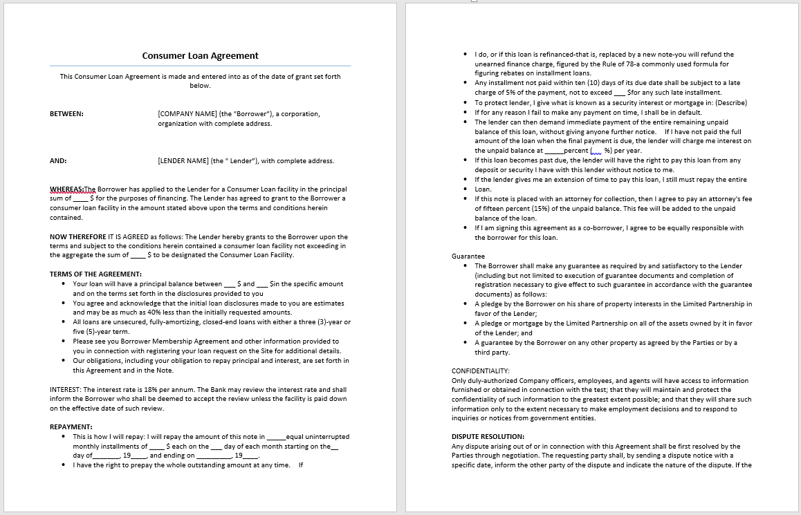 Free Loan Agreement Consumer Loan Agreement Template Microsoft Word Templates